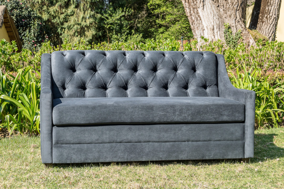Laurie Kohrs Grey Velvet Chesterfield Couch