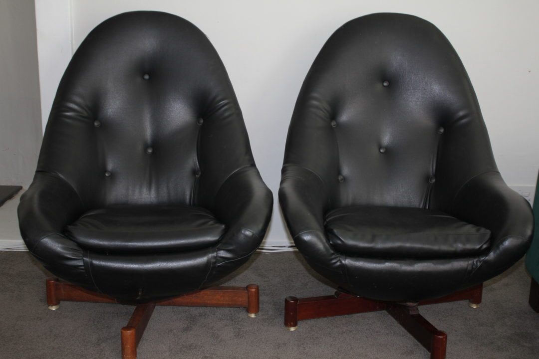 Laurie Kohrs Leather Bucket CHairs